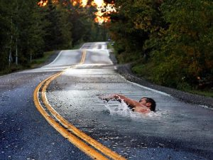 swimming on pavement