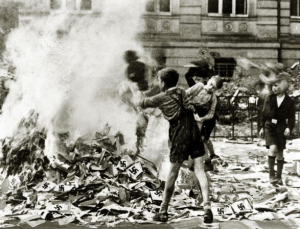 book burning nazi boys