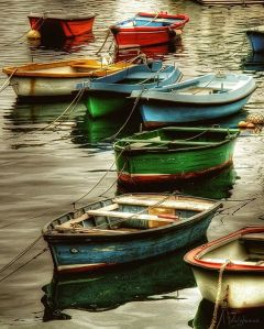 colourful boats on water